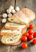 Ciabatta With Mushrooms And Cherry Tomatoes