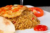 stock photo of nasi  - Fried Rice Nasi Goreng Indonesia Traditional Food in white plate - JPG
