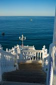 pic of balustrade  - Landmark Benidorm viewopoint whitawashed balustrades against the background of the ocean - JPG