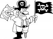 foto of peg-leg  - Black and white illustration of a pirate holding a flag and map - JPG