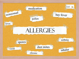 stock photo of dust mite  - Allergies Corkboard Word Concept with great terms such as pollen mold hives and more - JPG