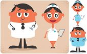 stock photo of overcoats  - Illustration of cartoon doctor and nurse in 2 color versions - JPG