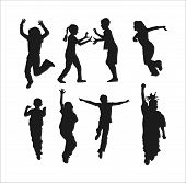 picture of children playing  - Silhouettes of children playing - JPG