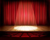 image of drama  - A theater stage with a red curtain - JPG