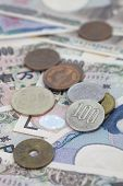 stock photo of japanese coin  - Close - up japanese yen bank note and japanese coin