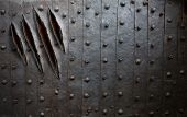 foto of monsters  - monster claw scratches on metal wall or door background - JPG