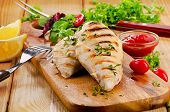 stock photo of chicken  - Grilled chicken breast with fresh vegetables  - JPG