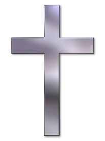 stock photo of christian cross  - Christian cross with silver bevel on white background - JPG