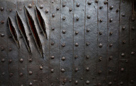 foto of claw  - monster claw scratches on metal wall or door background - JPG