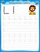foto of kindergarten  - Writing practice letter L printable worksheet with clip art for preschool  - JPG