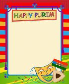 pic of purim  - cheerful happy purim sign with purim elements and blank area for text in the center - JPG