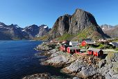picture of reining  - Norway village with mountain  - JPG