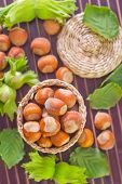 picture of cobnuts  - hazelnuts on plate and on a table - JPG