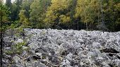 pic of ural mountains  - Stone river Qurum is a big boulder field one of the most amazing natural phenomena mountains of the Urals - JPG