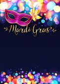 stock photo of masquerade mask  - Bright vector Mardi Gras poster template with bokeh effect lights and pink carnival mask - JPG
