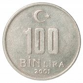 image of turkish lira  - Turkish 100 BinLira closeup isolated on white background - JPG