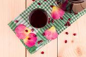 foto of pomegranate  - Pitcher of pomegranate juice with pomegranates - JPG