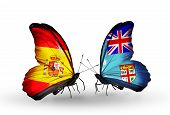 picture of spanish money  - Two butterflies with flags on wings as symbol of relations Spain and Fiji - JPG