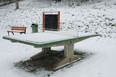 pic of ping pong  - ping pong table in a park during a snowstorm - JPG