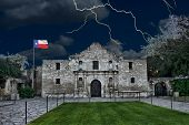 stock photo of revolutionary war  - A stormy night at the Alamo - JPG