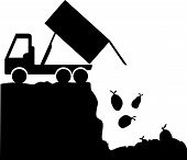 pic of landfills  - A silhouette of a garbage truck which is unloading trash bags into a landfill - JPG