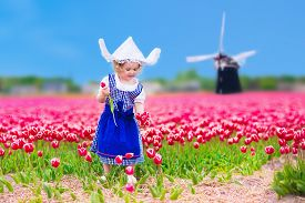 image of national costume  - Adorable curly toddler girl wearing Dutch traditional national costume dress and hat playing in a field of blooming tulips next to a windmill in Amsterdam region Holland Netherlands - JPG