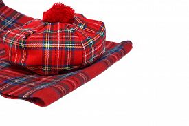 stock photo of headgear  - Traditional Scottish Red Tartan Bonnet and Scarf Men headgear and neckwear Isolated on white Background - JPG