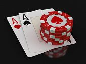 foto of ace spades  - chips of casino and aces - JPG