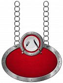 image of oval  - Oval metallic sign with red velvet and frame white empty plate with silver cutlery - JPG