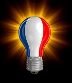 pic of french culture  - Light bulb with French flag - JPG