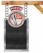 stock photo of food chain  - Empty blackboard with metal frame hanging from a metal chain white plate with a slice of pizza and cutlery - JPG