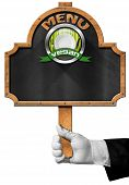 pic of vegan  - Hand of waiter with white glove holding a pole with empty blackboard vegan symbol with empty white plate and silver cutlery - JPG