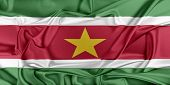 stock photo of suriname  - Flag of Suriname waving in the wind - JPG