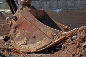 image of ladle  - ladle of an excavator at a construction site - JPG