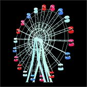 image of carnival ride  - Colorful Fun Park Fair Carnival Carousel Vector - JPG