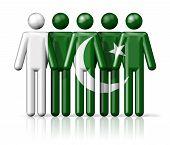 stock photo of pakistani flag  - Flag of Pakistan on stick figure  - JPG