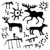 picture of cave  - Cave rock painting animals silhouettes vector set - JPG