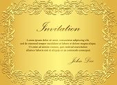 picture of exclusive  - Exclusive golden invitation with vintage floral pattern - JPG