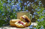 picture of forget me not  - coffe and the donuts on wood with forget - JPG