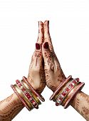 pic of mudra  - Woman hands with henna in Namaste mudra on white background - JPG