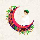 stock photo of namaz  - Religious Muslim young boy praying Namaz  - JPG