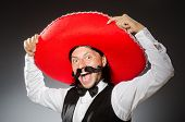 image of sombrero  - Mexican man wears sombrero isolated on white - JPG