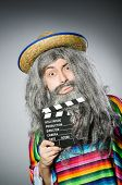 foto of hairy  - Funny hairy mexican with movie clapper - JPG
