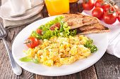 picture of scrambled eggs  - scrambled egg with orange juice and coffee - JPG