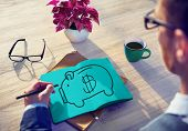 foto of economizer  - Piggy Bank Saving Money Economize Profit Concept - JPG