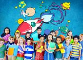 picture of outerspace  - Rocket Launch Space Outerspace Planets Concept - JPG