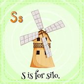 picture of silos  - English flashcard letter S is for silo - JPG