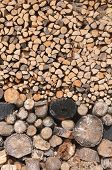 picture of firewood  - Stack of dry chopped firewood wood texture - JPG