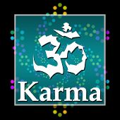 stock photo of karma  - Karma concept image with text and aum symbol over black background - JPG
