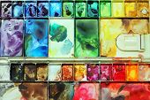 image of messy  - A very colorful and messy palette - JPG